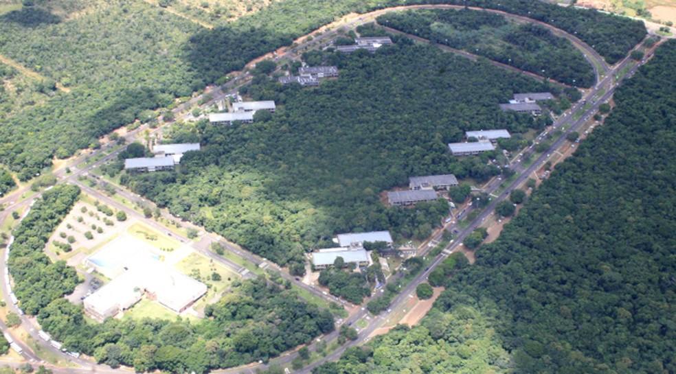 Imagem aérea do Parque dos Poderes, em Campo Grande
